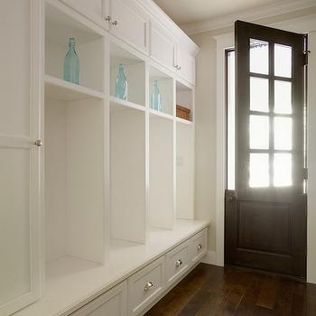 Allwood Construction - laundry/mud rooms - dutch door, mudroom door, mudroom dutch door, mudroom lockers, open lockers, mudroom open lockers, mudroom bench, mudroom cabinets, long mudroom, long mudroom ideas,