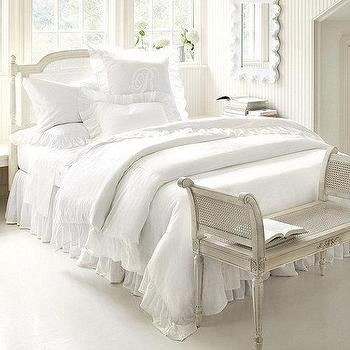 Bedding - Hailey Ruffled Duvet | Ballard Designs - white ruffled bedding, white ruffled duvet, white ruffled bed linens,