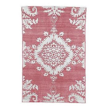 Rugs - Mia Hand Knotted Rug | Ballard Designs - pink and white patterned rug, pink and white hand knotted rug, pink and white rug,