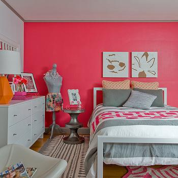Pink Accent Wall, Contemporary, girl's room, Ana Donohue Interiors
