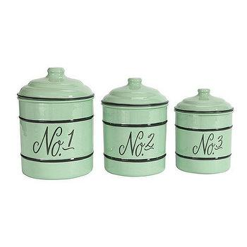 Decor/Accessories - Set of 3 Numbered Enamel Canisters | Ballard Designs - enamel kitchen canisters, blue enamel kitchen canisters, numbered enamel kitchen canisters,