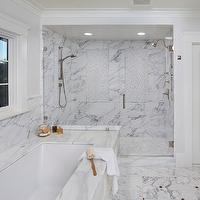 Allwood Construction - bathrooms - double shower, shared shower, his and her shower heads, white marble shower, marble shower surround, mosaic marble shower floor, drop in bathtub, shower for two, shower for 2,