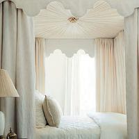 Phoebe Howard - bedrooms - upholstered canopy, upholstered bed canopy, canopy bed, canopy bed ceiling, upholstered canopy bed, bed panels, bed drapery, bed valance, ivory and pink bedding, traditional nightstands, bed curtains, pink bed curtains, elegant bedrooms, sophisticated bedrooms, beautiful bedrooms, bedroom retreat, scalloped valance,