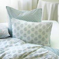 Bedding - Ava Block Print Duvet - Spa | Ballard Designs - blue block print bedding, blue paisley bedding, blue paisley duvet, blue and white block print bedding, blue and white paisley bedding, blue and white paisley duvet,