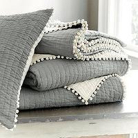 Bedding - Audree Pom Pom Quilt - Gray | Ballard Designs - gray bedding with pom pom trim, gray quilt with pom pom trim, gray quilt with cream pom pom trim,