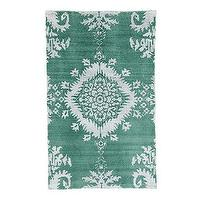 Rugs - Mia Hand Knotted Rug | Ballard Designs - jade green and white rug, jade green and white patterned rug, jade green rug,