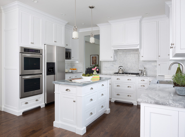 Super White Quartzite Countertops Transitional Kitchen MB Wilson Interior Design