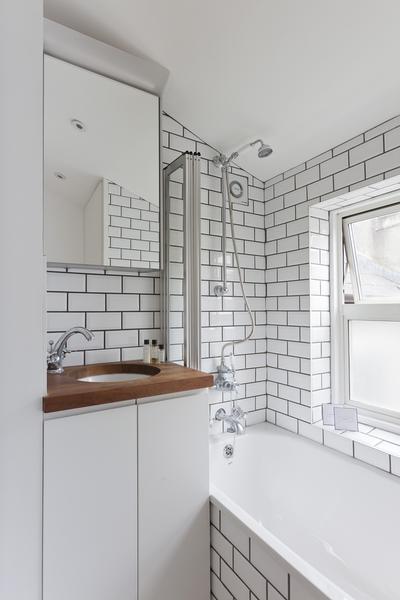 White Subway Tile Black Grout Contemporary Bathroom