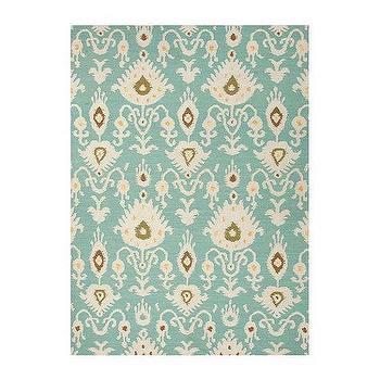 Rugs - Anegada Flat Woven Rug | Ballard Designs - turquoise ikat rug, aqua blue ikat rug, blue ikat rug,