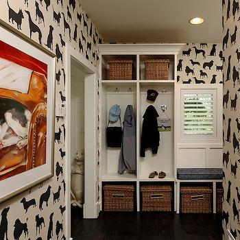 OPaL - laundry/mud rooms - mudroom, dog wallpaper, dogs wallpaper, mudroom, mudroom cabinets, mudroom lockers, mudroom bench, mudroom bench, , Dog Flock Velvet Wallpaper,