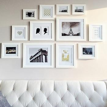 Closet Full of Nothing - living rooms - velvet sofa, white sofa, white tufted sofa, velvet tufted sofa, white velvet tufted sofa, art wall over sofa, art wall, art over sofa, art above sofa,