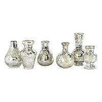Decor/Accessories - Set of 6 Mercury Bud Vases | Ballard Designs - mercury glass bud vase, antiqued silver bud vase, silver mercury glass bud vase,