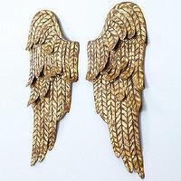 Art/Wall Decor - Set of 2 Angel Wings Wall Plaque | Ballard Designs - gold angel wing wall art, gold angel wing wall plaque, gold angel wing wall sculpture,