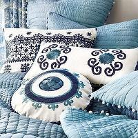 Bedding - Granada Embroidered Pillow | Ballard Designs - blue bedding with pom pom trim, blue embroidered bedding, blue geometric bedding, blue mediterranean style bedding,