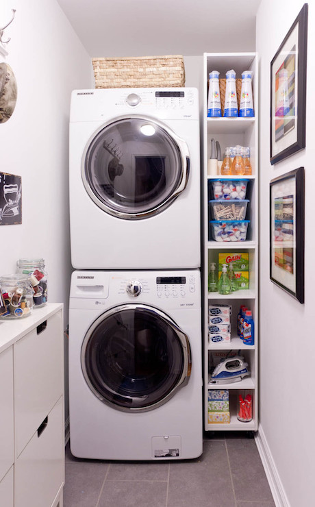Stacked Washer Dryer Transitional Laundry Room Lowes
