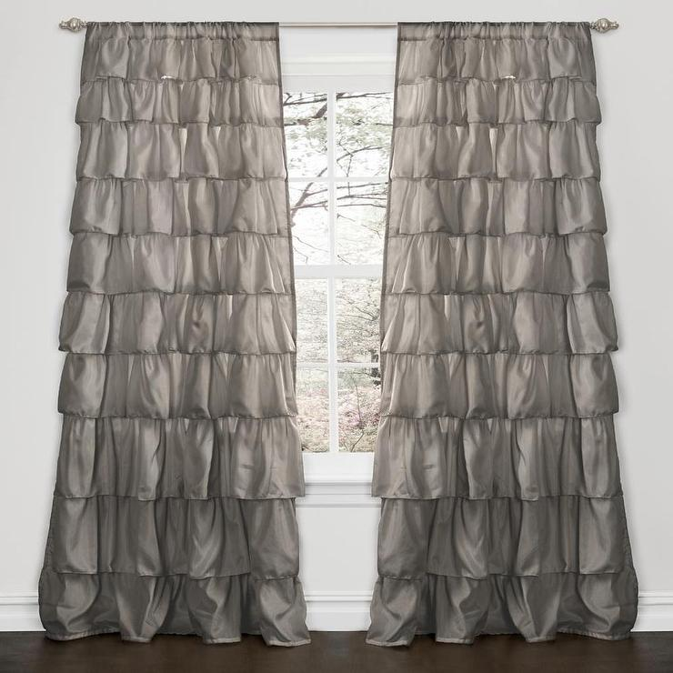lush decor grey 84 inch ruffle curtain panel