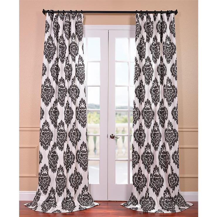 Ikat Black Printed Cotton Curtain Panel Overstock Com