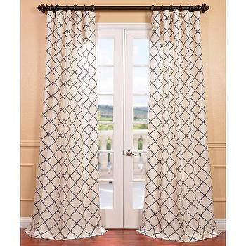 Window Treatments - Pavillion Pearl Flocked Faux Silk Curtain Panel | Overstock.com - black and white geometric drapes, black and white geometric curtains, black and white faux silk drapes, black and white faux silk curtains,