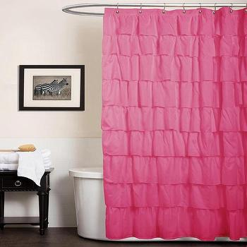 Bath - Lush Decor Ruffle Pink Shower Curtain | Overstock.com - pink ruffled shower curtain, pink ruffle shower curtain, hot pink ruffled shower curtain, hot pink ruffle shower curtain,