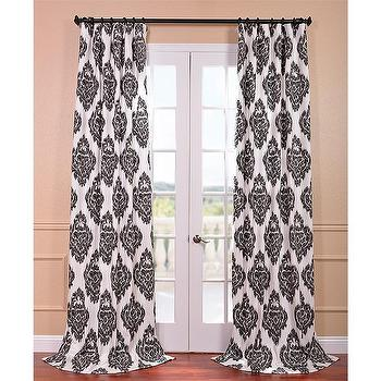 Window Treatments - Ikat Black Printed Cotton Curtain Panel | Overstock.com - black and white ikat drapes, black and white ikat curtains, ikat damask drapes, ikat damask curtains,