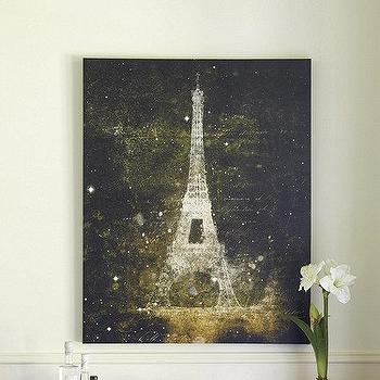 Art/Wall Decor - Luminaire Eiffel Tower Print | Ballard Designs - eiffel tower art, eiffel tower at night art, eiffel tower at night painting,