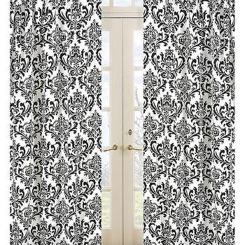 Window Treatments - Damask Print Isabella 84-inch Curtain Panel Pair | Overstock.com - black and white damask drapes, black and white damask curtains, damask drapes, damask curtains,