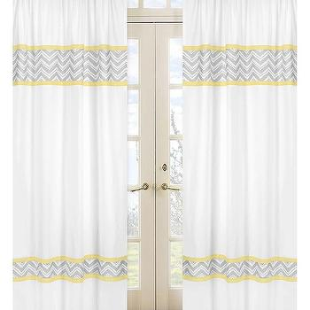 Window Treatments - Yellow and Grey Zig Zag 84-inch Curtain Panel Pair | Overstock.com - yellow and gray zig zag drapes, yellow and gray zig zag curtains, yellow and gray chevron drapes, yellow and gray chevron curtains,
