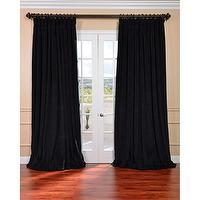 Window Treatments - Warm Black Velvet Blackout Extra Wide Curtain Panel | Overstock.com - black velvet drapes, black velvet curtains, black velvet draperies,