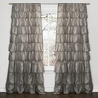Window Treatments - Lush Decor Grey 84-inch Ruffle Curtain Panel | Overstock.com - ruffled gray drapes, ruffled gray curtains, gray ruffle drapes, gray ruffle curtains,