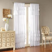 Window Treatments - Joycelyn Cotton 84-Inch Oversized Ruffle Curtain Panel | Overstock.com - white ruffle drapes, white ruffle curtains, white ruffle panel, ruffled cotton drapes, ruffled cotton curtains,