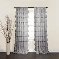 Window Treatments - Lush Decor Olivia Grey 84-inch Curtain Panel | Overstock.com - gray ruffled drapes, gray ruffled curtains, gray ruffled chiffon drapes, gray ruffled chiffon curtains,