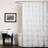 Bath - Lush Decor White Ruffle Shower Curtain | Overstock.com - white ruffle shower curtain, white ruffled shower curtain, white shabby chic shower curtain,