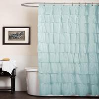 Bath - Lush Decor Ruffle Aqua Blue Shower Curtain | Overstock.com - aqua blue ruffle shower curtain, blue ruffle shower curtain, blue ruffled shower curtain,