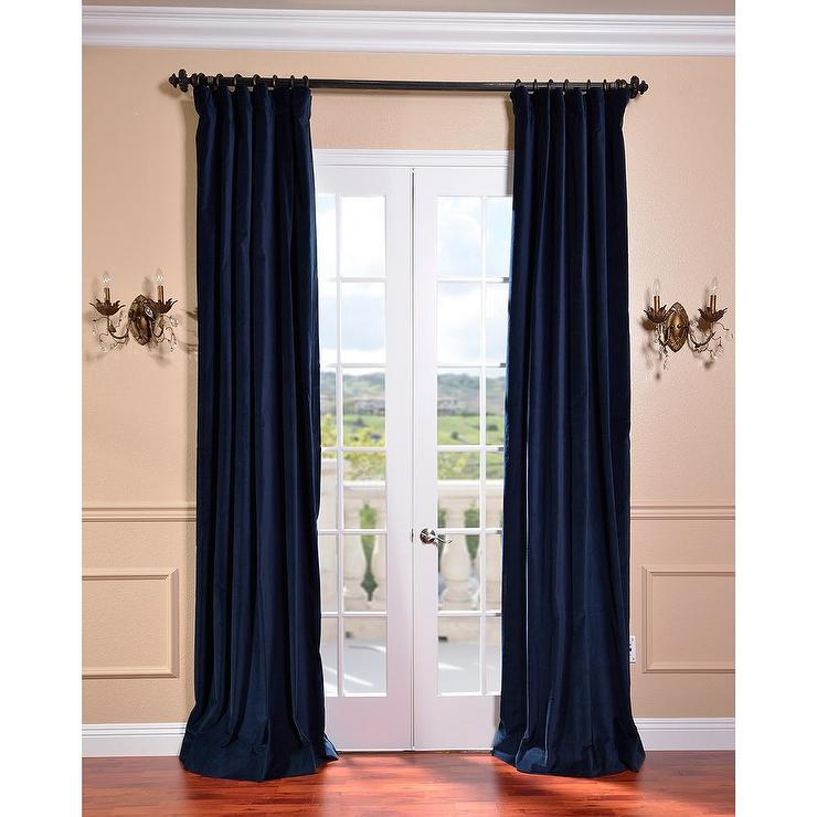 Indigo blue vintage cotton velvet curtain for Old world curtains and drapes