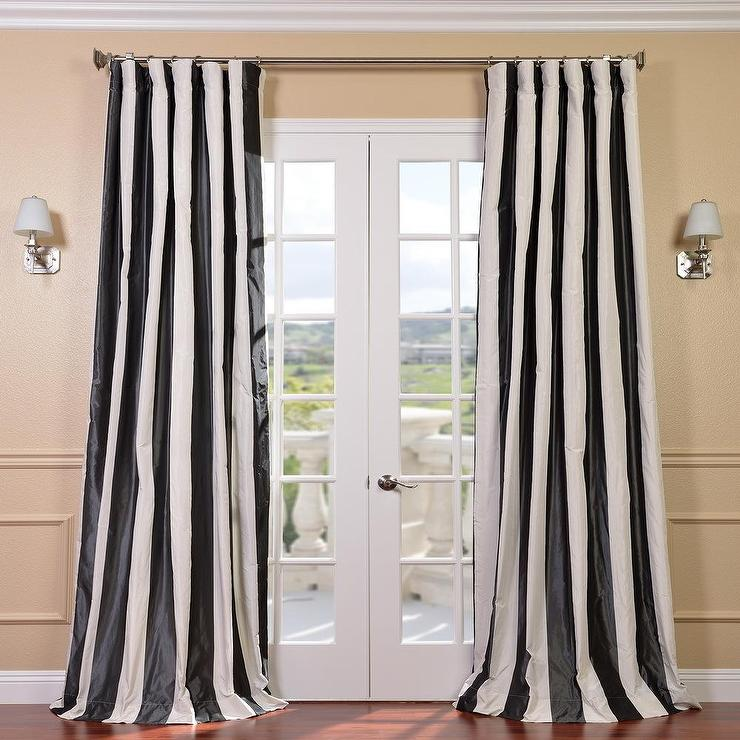 Stripe Black White Faux Silk Taffeta Curtain Panel