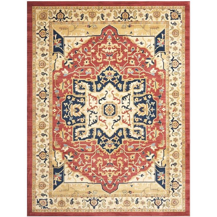 Heriz red cream rug for Cream and red rugs