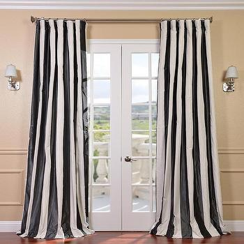Window Treatments - Stripe Black/White Faux Silk Taffeta Curtain Panel | Overstock.com - black and white striped drapes, black and white striped curtains, black and white striped faux silk drapes, black and white faux silk curtains,