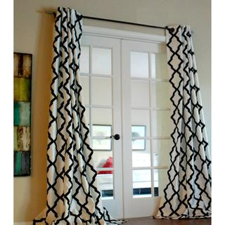 Window Treatments - 'Trellis' Bold Flocked Curtain Panel | Overstock.com - black and white trellis drapes, black and white trellis curtains, black and white flocked trellis drapes, black and white flocked trellis curtains,
