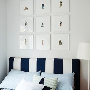 Emily Henderson - boy's rooms: art over headboard, framed art over headboard, white walls, white wall color, framed art, framed soldier art, framed soldier print art, navy and white striped headboard, navy and white stripe headboard, navy and white striped bedding, navy and white striped sheets, green white and navy star pillow, green and white striped pillow with navy star, stripe headboard, striped headboard, navy stripe headboard, navy striped headboard, ticking stripe bedding,