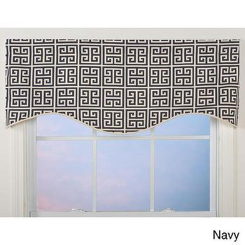Window Treatments - Greek Key Shaped Valance | Overstock.com - navy greek key valance, navy and white greek key valance, navy blue and white greek key window valance,