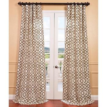 Filigree Pearl Flocked Faux Silk Curtain Panel, Overstock.com