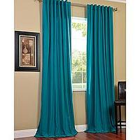 Window Treatments - Cotenza Turquoise Faux Cotton Curtain Panel | Overstock.com - turquoise drapes, turquoise cottons, turquoise cotton drapes, turquoise cotton curtains,