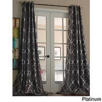 Window Treatments - Casablanca Modern Metallic Trellis Pattern Curtain Panel | Overstock.com - taupe and silver geometric drapes, taupe and silver geometric curtains, metallic trellis print drapes, metallic trellis print curtains,