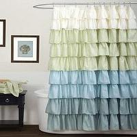 Bath - Lush Decor Multi Ruffle Shower Curtain | Overstock.com - blue and green ruffle shower curtain, blue and green ruffled shower curtain, blue green and cream ruffle shower curtain,