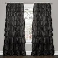 Window Treatments - Lush Decor Black 84-inch Ruffle Curtain Panel | Overstock.com - black ruffle drapes, black ruffle curtains, black ruffled drapes, black ruffled curtains,