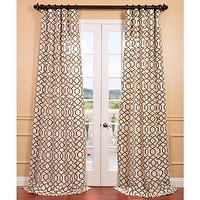 Window Treatments - Filigree Pearl Flocked Faux Silk Curtain Panel | Overstock.com - brown and ivory geometric drapes, brown and ivory geometric curtains, brown and ivory faux silk drapes, brown and ivory faux silk curtains,