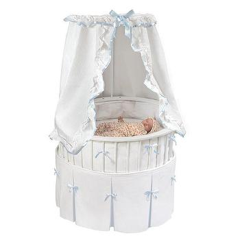 Beds/Headboards - Elite Oval Baby Bassinet with White Bedding | Overstock.com - white oval baby bassinet, oval shaped bassinet, oval bassinet with blue and white bedding,