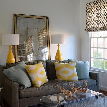 Yellow and Gray Living Room, Contemporary, living room, Finnian's Moon Interiors