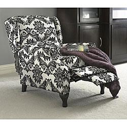 Seating - Black and White Wing Recliner | Overstock.com - black and white wing chair, black and white wing chair with recliner, black and white damask wing chair with recliner,
