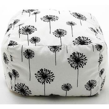 Seating - BeanSack Dandelion Print Cube Bean Bag Ottoman | Overstock.com - black and white floral bean bag cube, bean bag cube, black and white dandelion bean bag cube,